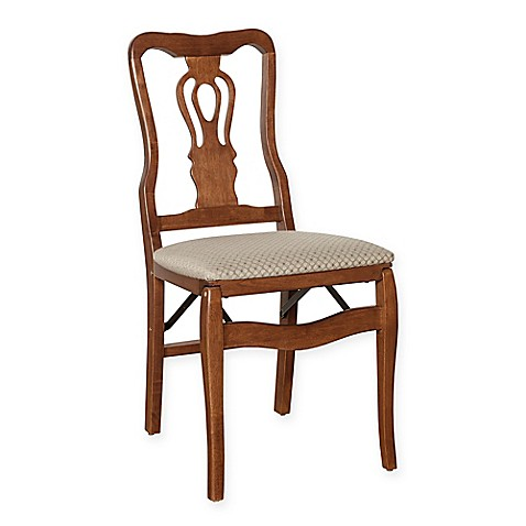 Stakmore Chippendale Wood Folding Chairs In Cherry Set Of