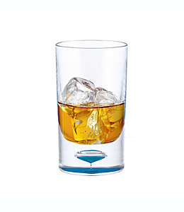 Vaso Old Fashioned doble con burbuja en el fondo en azul