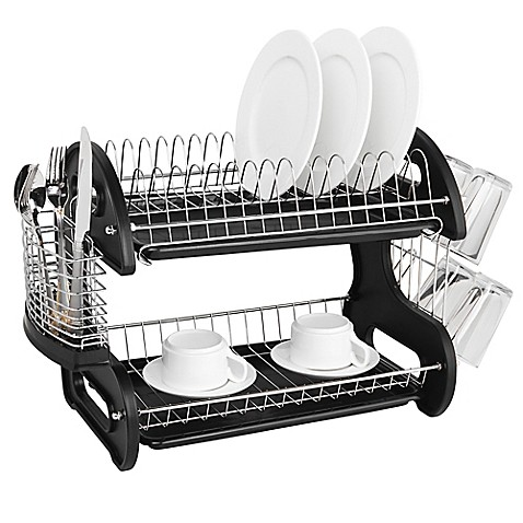 home basics 2 tier dish drainer bed bath beyond. Black Bedroom Furniture Sets. Home Design Ideas