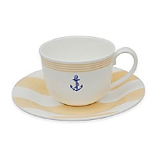 image of P by Prouna Marine Blue Teacup and Saucer in Yellow