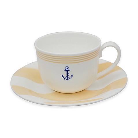 P by Prouna Marine Blue Teacup and Saucer in Yellow