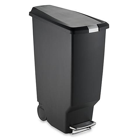 buy simplehuman slim plastic 40 liter step on trash can in black from bed bath beyond. Black Bedroom Furniture Sets. Home Design Ideas