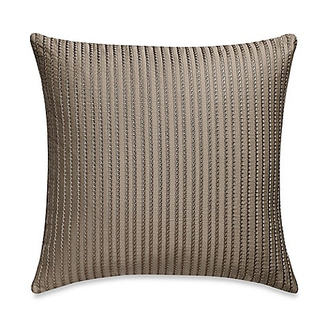 Buy Frette At Home Tiber Ricamo Square Throw Pillow in Stone from Bed Bath & Beyond