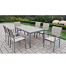 image of Oakland Living™ Padded Sling 7-Piece Outdoor Dining Set in Champagne