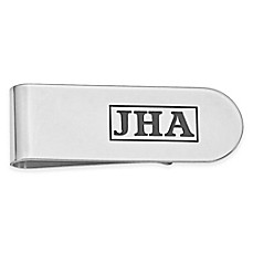 Sterling Silver Enamel Initial Money Clip