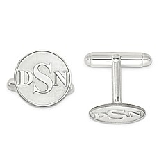 image of Raised Circle Initial Cufflinks
