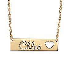 image of Alison & Ivy™ 24K Rose Gold-Plated Sterling Silver Cutout Heart Bar Name Necklace