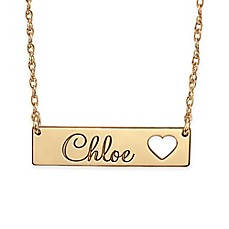 image of Alison & Ivy™ 14K Rose Gold 18-Inch Chain Cutout Heart Bar Name Necklace