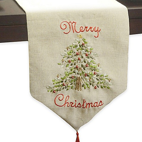 ribboned 120 inch merry christmas tree runner in natural