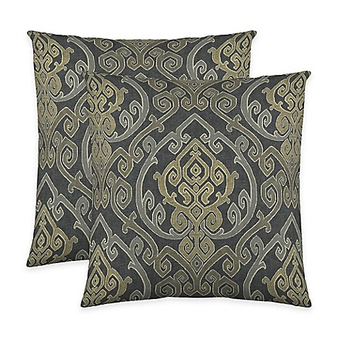 Throw Pillows Charcoal : Buy Colorfly Zaya Throw Pillow in Charcoal (Set of 2) from Bed Bath & Beyond