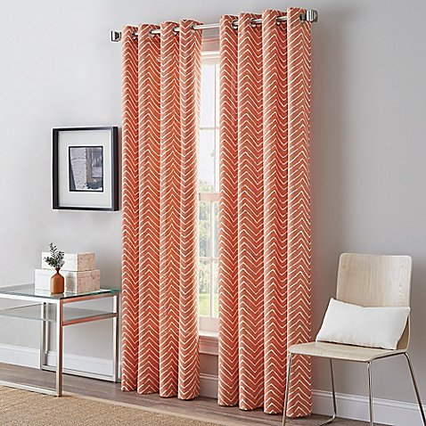 Herringbone Grommet Top Window Curtain Panel - Bed Bath & Beyond