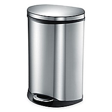 image of EKO Shell Stainless Steel Semi-Round 50-Liter Soft-Close Step Trash Can