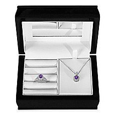 image of Sterling Silver Amethyst and Created White Sapphire Halo Pendant, Ring and Jewelry Box Set