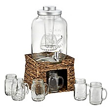 image of Artland® Beverage Dispenser Set with Sea Grass Stand and 6 Mason Jar Mugs
