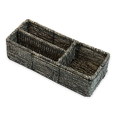 Baum Christina Binded Maize Divided Tank Basket In Grey Bed Bath Beyond