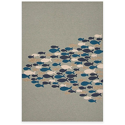 Jaipur go fish indoor outdoor rug bed bath beyond for Fish bath rug