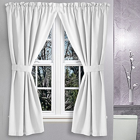 Buy Avalon 36 Inch X 45 Inch Bath Window Curtain Pair In White From Bed Bath Beyond