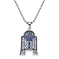image of Star Wars™ Stainless Steel 22-Inch Chain R2-D2™ Pendant Necklace