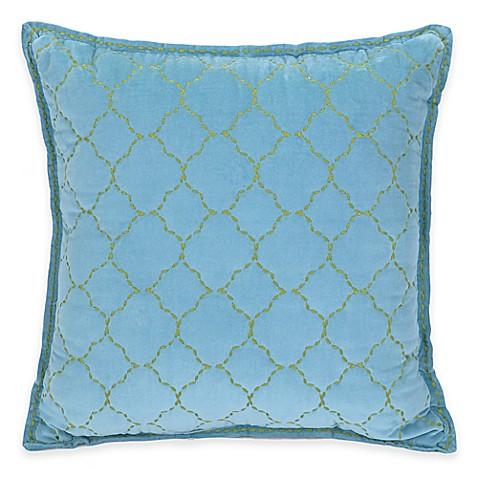 Buy Jessica Simpson Amrita Medallion Trellis Velvet Square Throw Pillow in Blue from Bed Bath ...