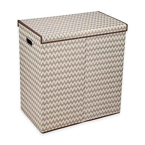 Household essentials collapsible 2 compartment laundry hamper in brown bed bath beyond - Collapsible clothes hamper ...