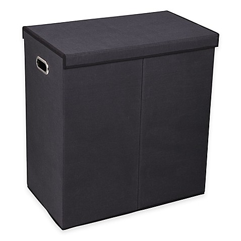 Household essentials collapsible 2 compartment laundry hamper in black bed bath beyond - Collapsible clothes hamper ...