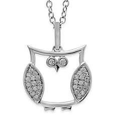 image of ASPCA® Tender Voices Sterling Silver .11 cttw Diamond 18-Inch Chain Gold Owl Pendant Necklace