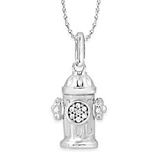 image of ASPCA® Tender Voices Sterling Silver 1/10 cttw Diamond Fire Hydrant Pendant Necklace