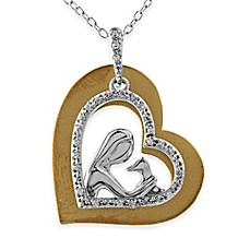 image of ASPCA® Tender Voices Sterling Silver and 10K Gold-Plated .11 cttw Diamond Loving Dog Pendant