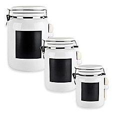 image of Blue Harbor Ceramic Canister with Chalkboard Panel in White