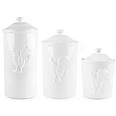 image of Ceramic Rooster Canister in White
