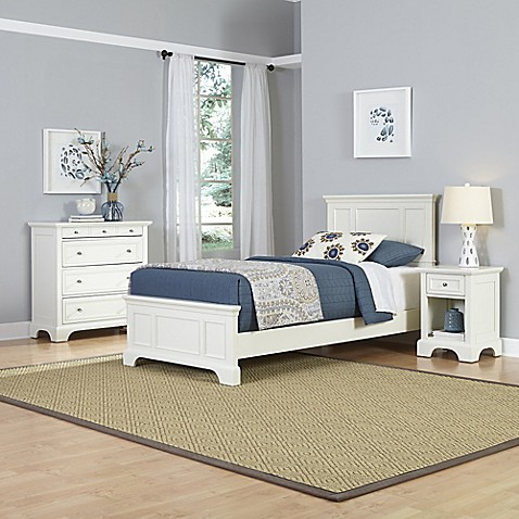 Buy Home Styles Naples 3 Piece Twin Bed Nightstand And Chest Drawer Set In White From Bed Bath