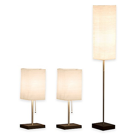 Monterey 3 piece crinkle paper shade lamp set