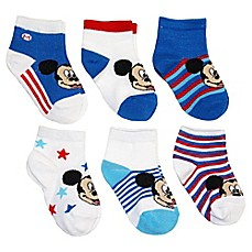 image of Disney® 6-Pack Mickey Mouse Socks in Assorted Designs