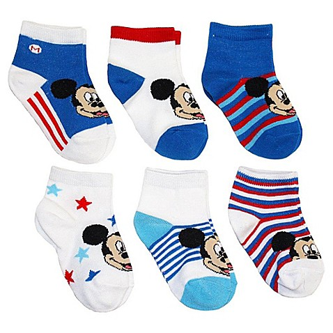 Disney 6 Pack Mickey Mouse Socks In Assorted Designs Buybuy Baby