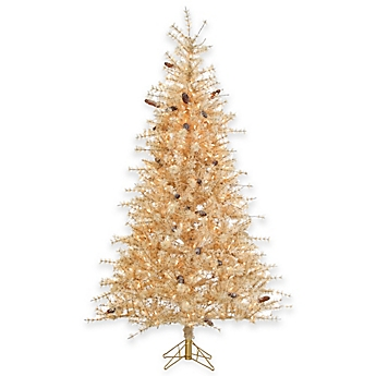 7 Foot Pre Lit Buttercreme Frosted Hard Needle Christmas Tree With Clear  Lights