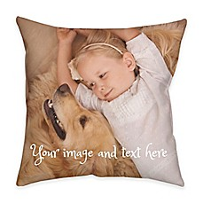 image of Square Dual Sided Photo Faux Linen Lite Throw Pillow