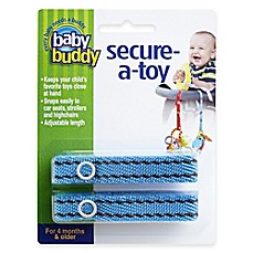 image of Baby Buddy® Secure-a-Toy Straps in Blue/Brown (Set of 2)