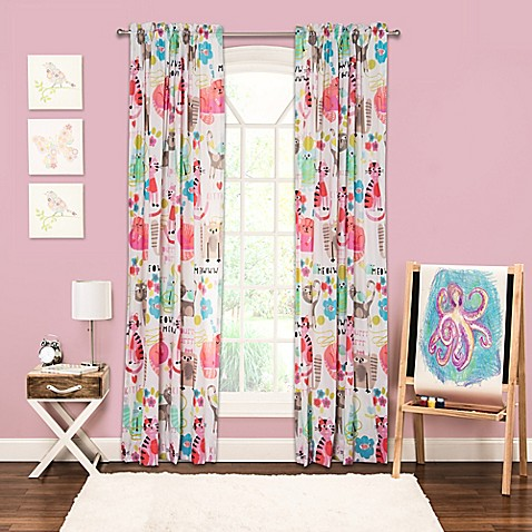 Crayola® Purrty Cat 84-Inch Rod Pocket Window Curtain Panel in Pink ...