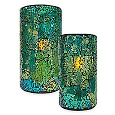 image of Blue/Green Mosaic LED Candle