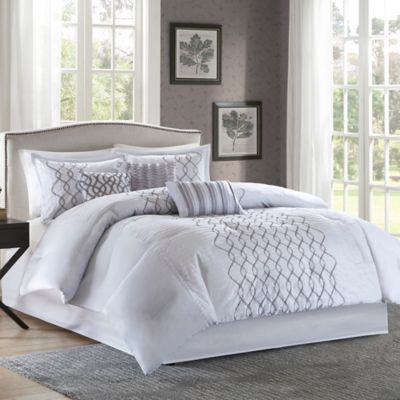image of Madison Park Iris Comforter Set in Silver