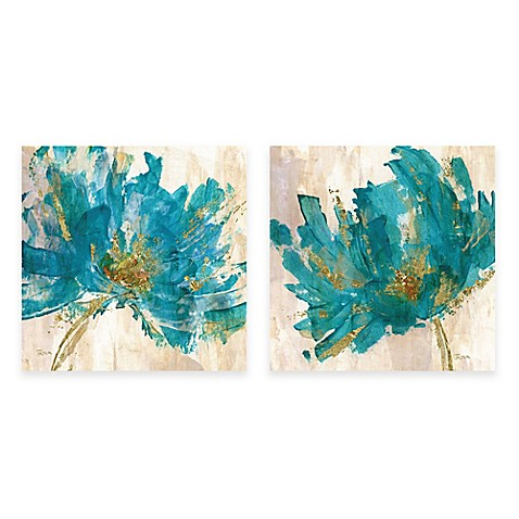 contemporary teal flower canvas wall art - bed bath & beyond