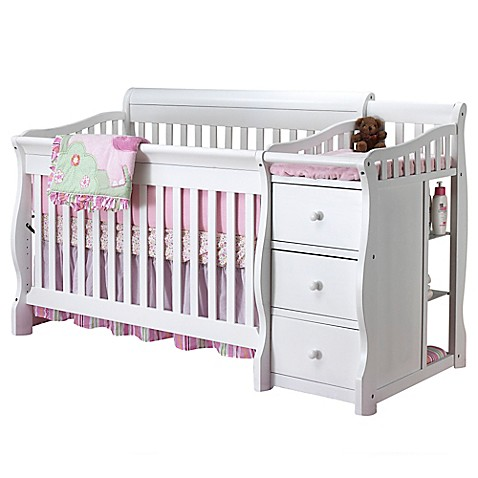 sorelle tuscany 4 in 1 convertible crib and changer in white buybuy baby. Black Bedroom Furniture Sets. Home Design Ideas