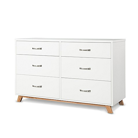 Child craft soho 6 drawer double dresser in white natural for Child craft soho crib natural