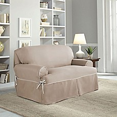 image of perfect fit classic twill tloveseat slipcover