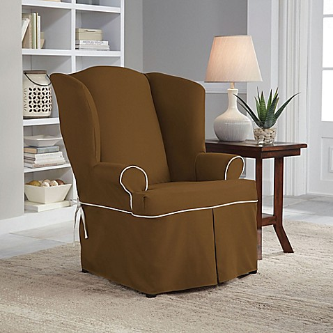 Buy Perfect Fit Classic Twill Wing Chair Slipcover In Cocoa From Bed Bath A