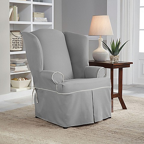 Perfect Fit 174 Classic Twill Wing Chair Slipcover Bed Bath