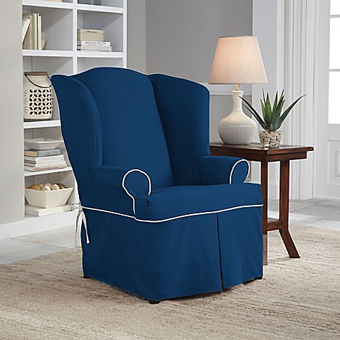 Buy Perfect Fit Classic Twill Wing Chair Slipcover In Navy From Bed Bath Am