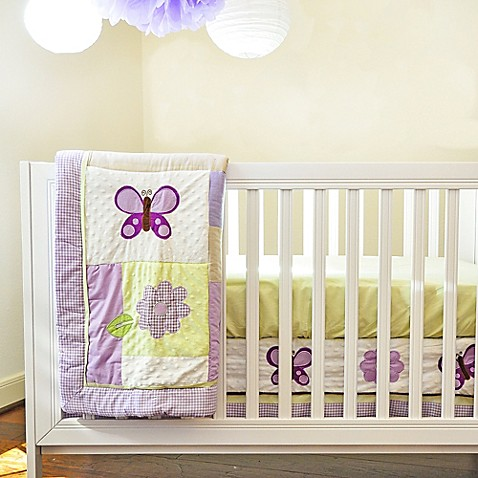 Lilac Butterfly Crib Bedding