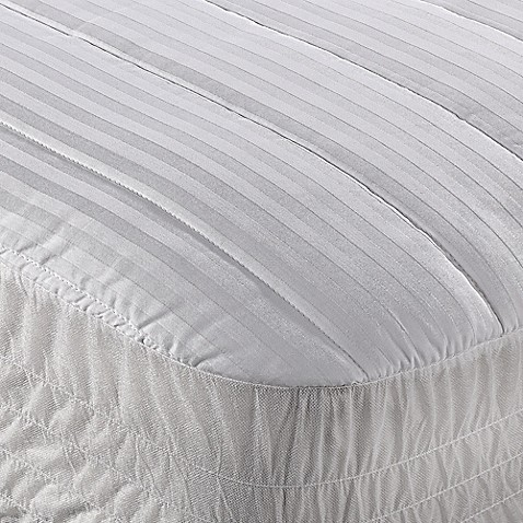 wamsutta® dobby stripe mattress pad in white - bed bath & beyond