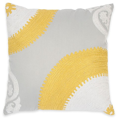 Square Throw Pillow Pattern : Buy Rizzy Home Embroidered Pattern Square Throw Pillow in Yellow/Grey from Bed Bath & Beyond